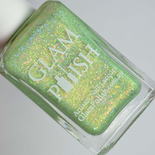 lime crelly holo nail polish