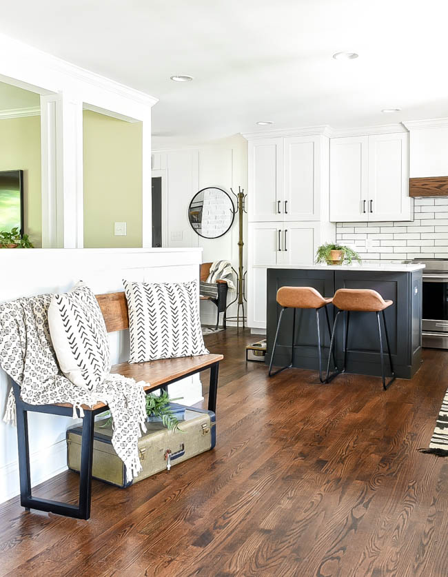 Open concept kitchen in a rancher style home