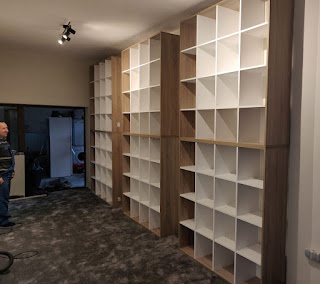 Six book cases all in place