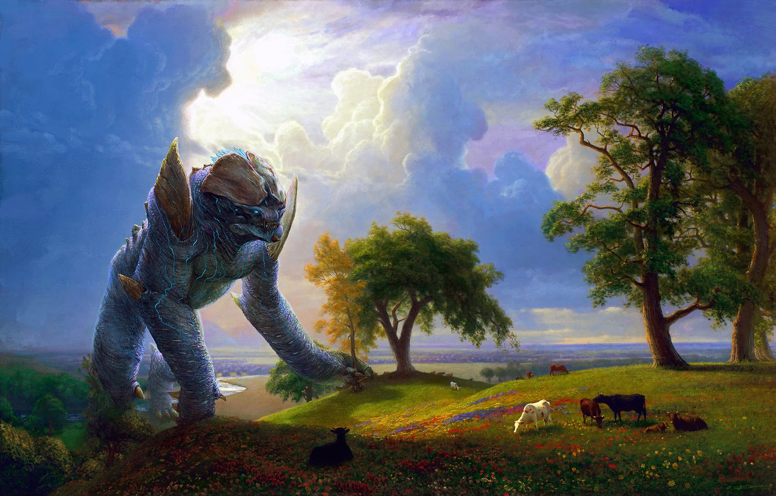 Digital overpainting of a Kaiju - Leatherback - in California Spring painting by Albert Bierstadt