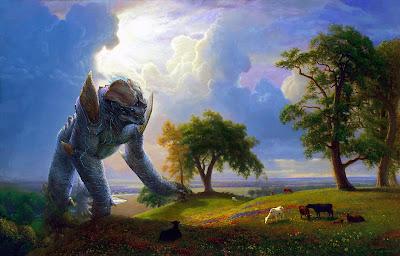 Digital overpainting of a Kaiju - Leatherback - in California Spring painting by Albert Bierstadt