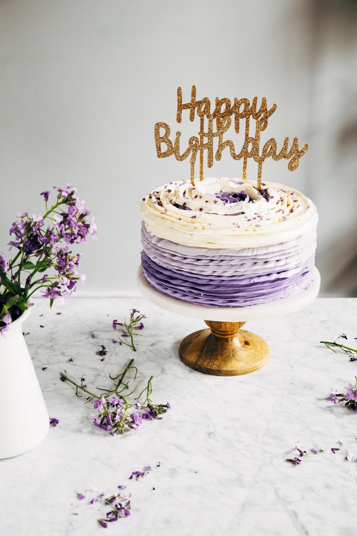 30th Birthday Chocolate Cake With Lavender Ruffle Frosting