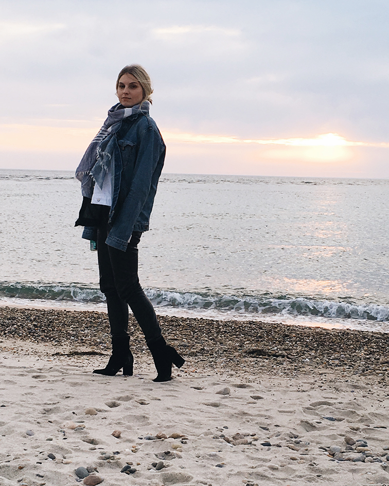 Menemsha Beach, Martha's Vineyard, Levi's men's trucker jacket, Free People boots