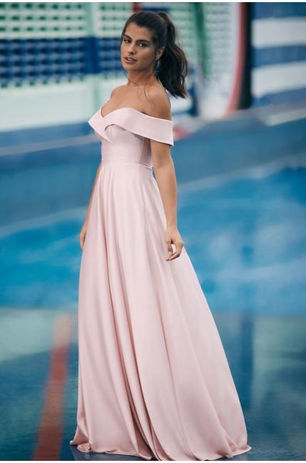 comprar online vestido longo rose para madrinha de casamento