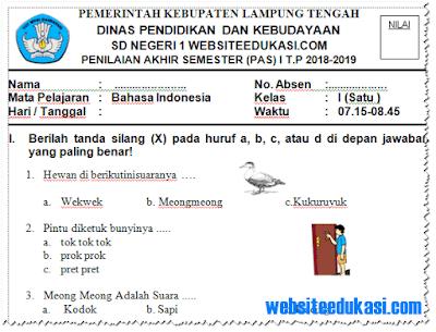 Soal PAS/ UAS Bahasa Indonesia Kelas 1 Semester 1 K13 Tahun 2018/2019