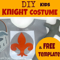 DIY kids knight costume for Halloween  - with a free template for coat of arms