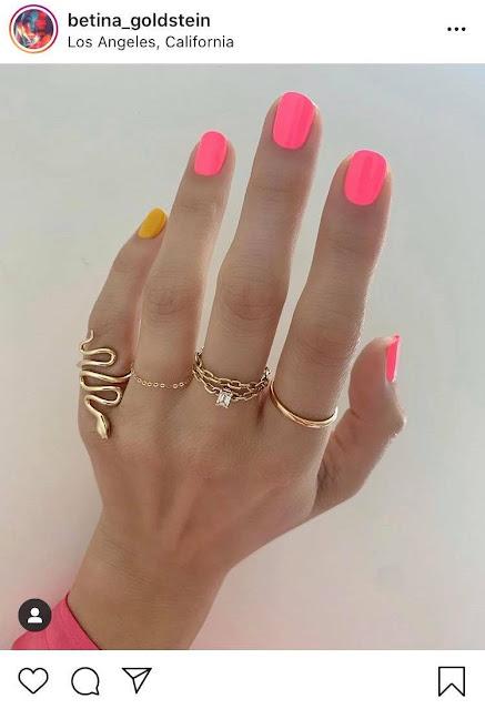 مانيكير نيون الوردي والأصفر