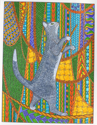 Adult coloring page circus cat