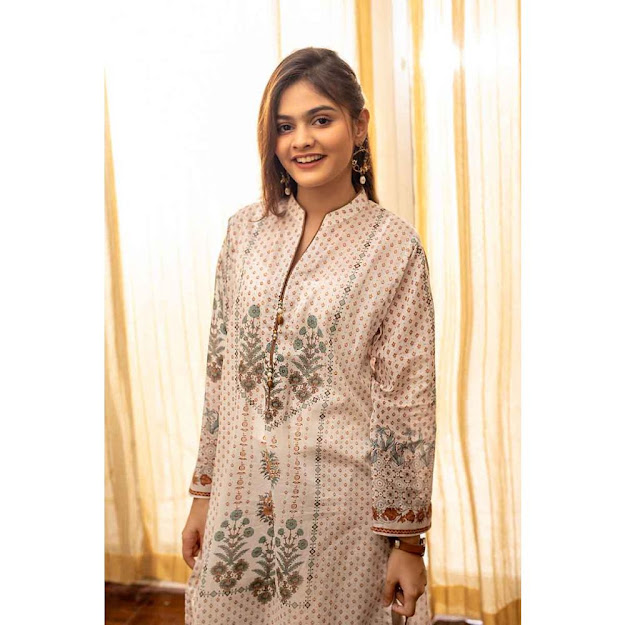 Gul Ahmed Unstitched suit off white color