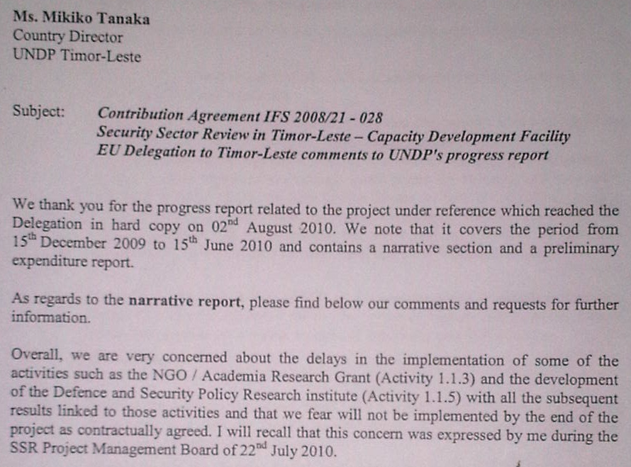 Tempo Semanal  Eu Letter Exposes Undp Incompetence  Ssr Project