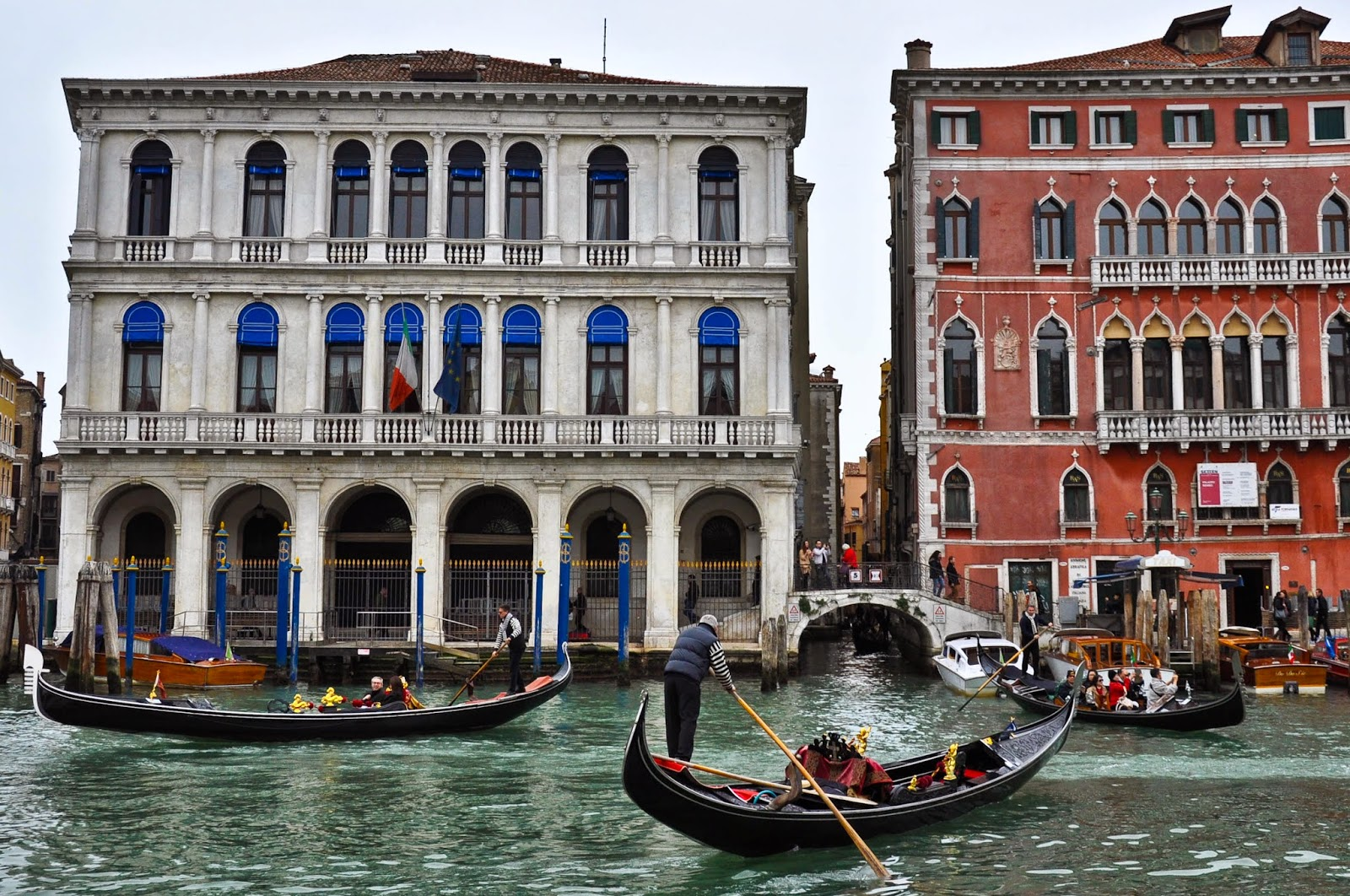 Gondola rush hour in Venice