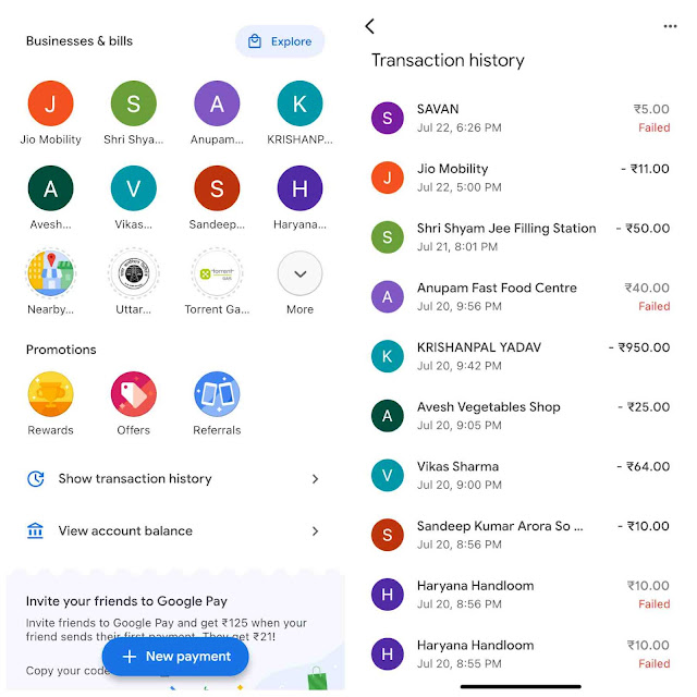 Check transaction history on Google Pay
