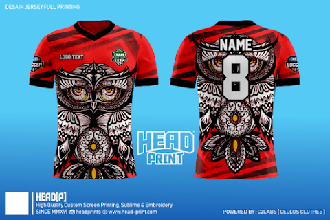 Red Owlesia Contoh Desain Jersey Full Printing - Head Print