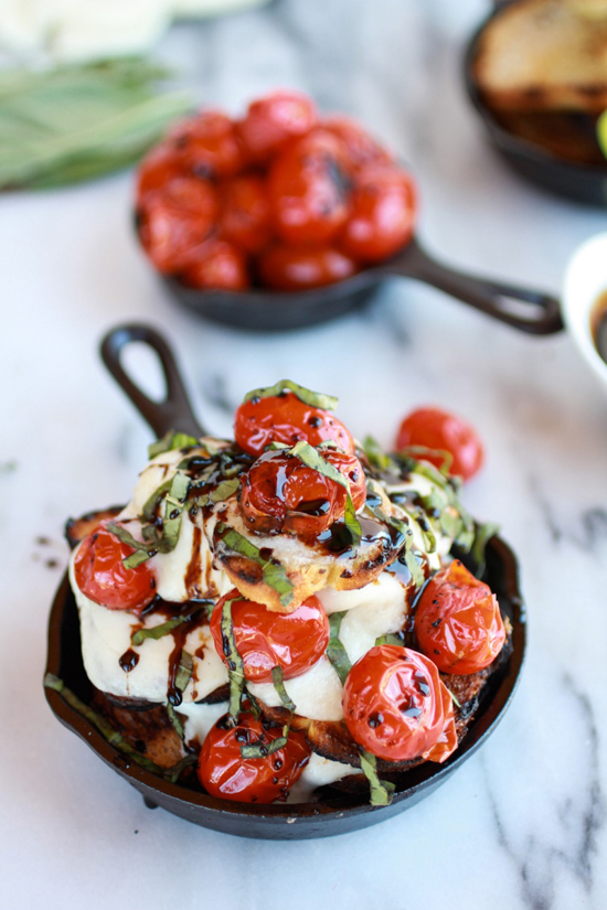 Blistered tomato grilled toast caprese nachos with balsamic glaze recipe by @hbharvest