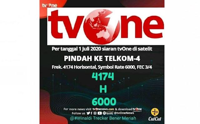 TV One Pindah Ke Telkom 4 Frek 4174 H 6000 per 1 Juli 2020