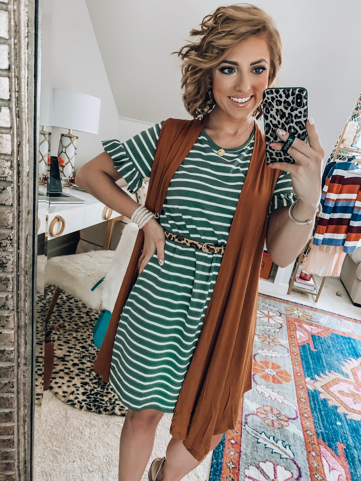 $17 Ruffle Sleeve T-shirt  Dress + $17 Vest - The Perfect look for transitioning into fall - Recent Amazon Finds - Something Delightful Blog