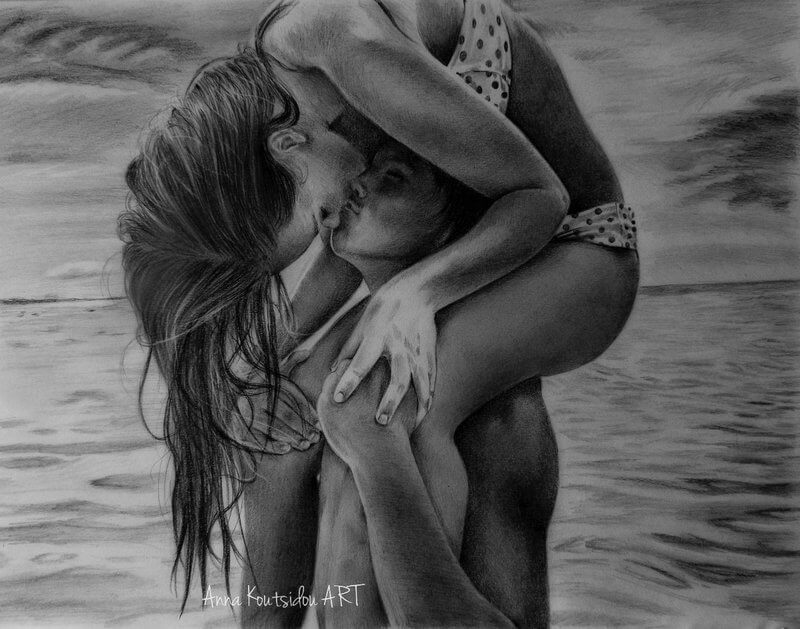 20 Mind-Blowing Pencil Drawings By Greek Artist That Illustrate The Beauty Of Love - That sweet summer kiss
