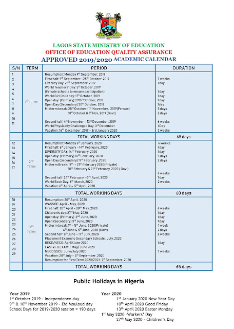 Lagos State Schools Calendar 2019/2020 [Public & Private] | Approved