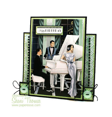 apermania A4 Foiled Decoupage Pack Art Deco Roaring Twenties Piano birthday step card.