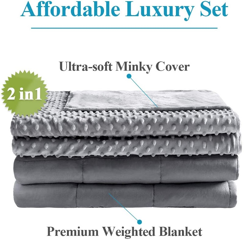 "36% OFF Anjee 15lbs Weighted Blanket with Minky Removable Cover, 48x72"" for Twin Size Bed"