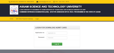 The admit card for Assam Combined Entrance Examination (CEE), 2019 for Admission into 1st Semester of Bachelor of Engineering (B.E), Bachelor of Technology (B.Tech.) Programme For the Session 2019-20 in the Engineering Colleges of Assam has been released.