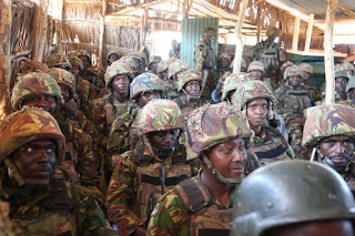 Kenyan army troops waiting for deployment
