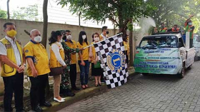 Dandim Medan Lepas Relawan Lions Club Indonesia Semprot Eco Enzym