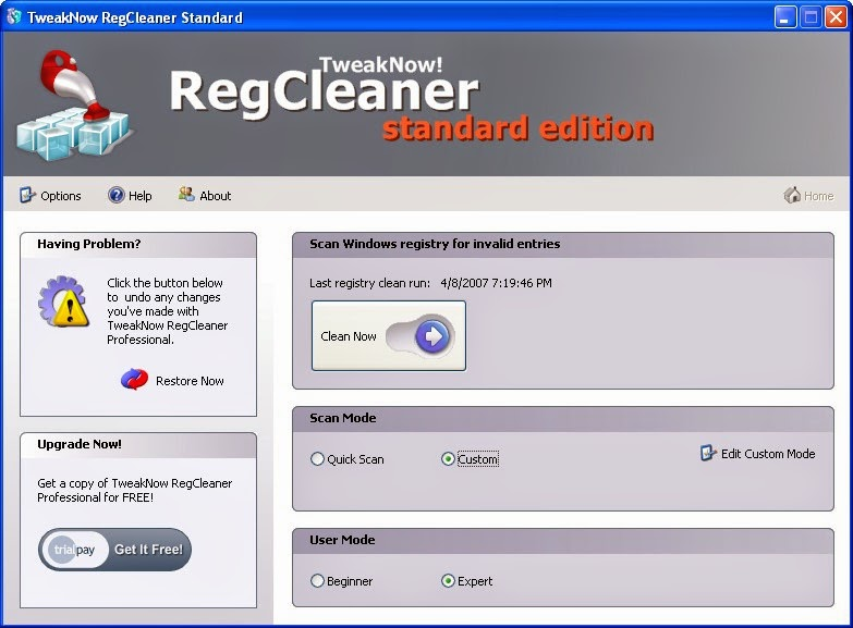 Download RegCleaner, Registry Cleaner