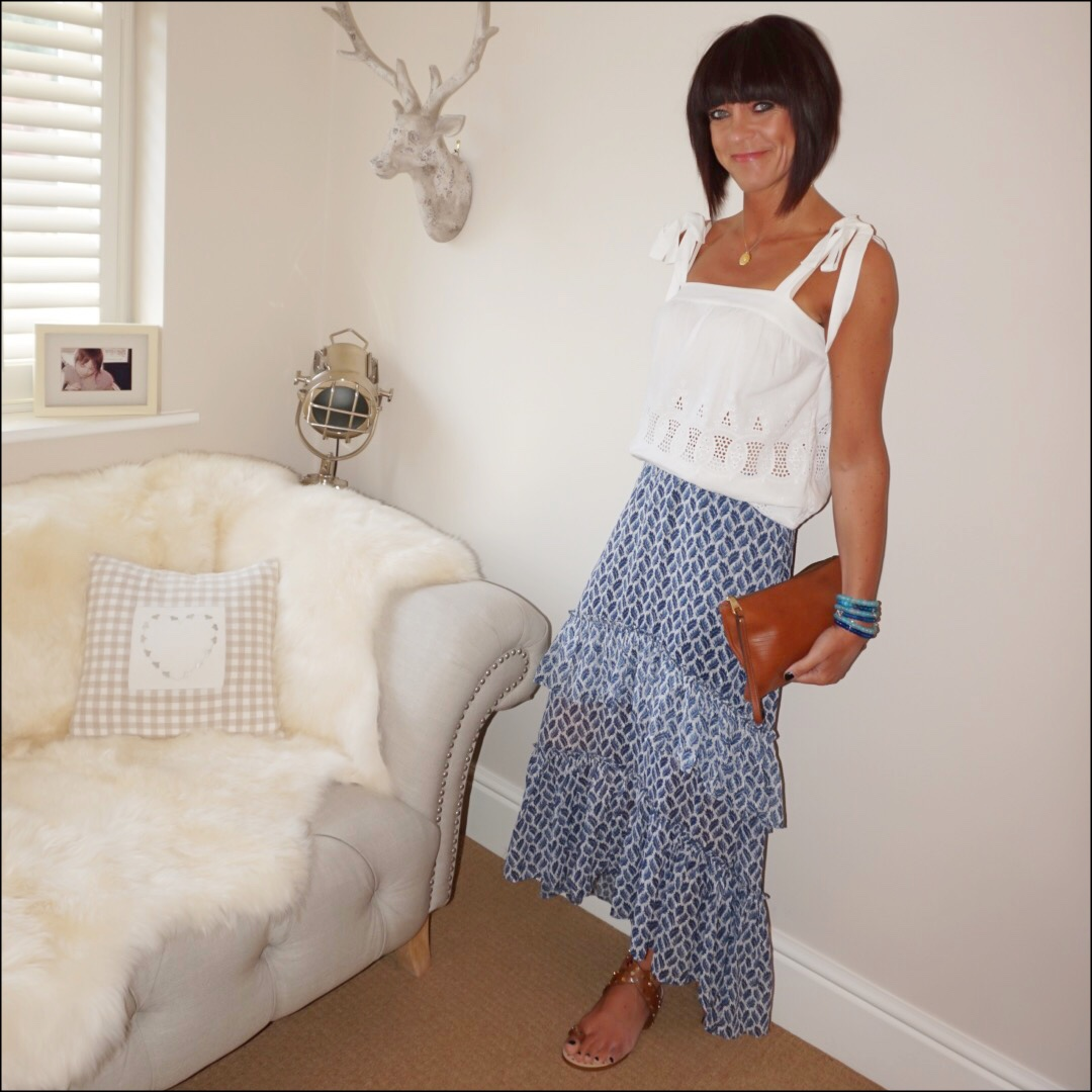 my midlife fashion, h&M tiered blue and white patterned maxi skirt, monsoon broderie anglaise camisole, basalt sandales sarah summers cuoio, massimo dutti leather tan clutch bag