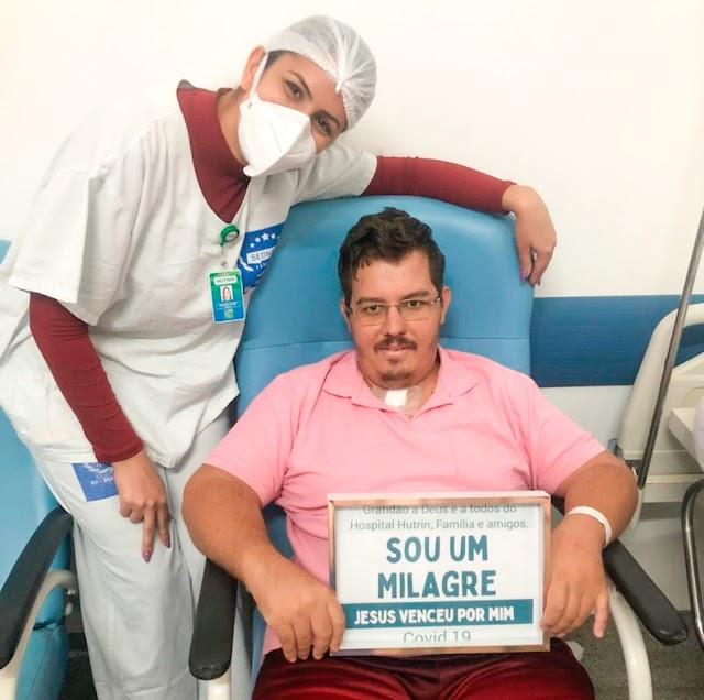 Autônomo celebra recuperação da Covid-19 após 29 dias de internação no Hutrin