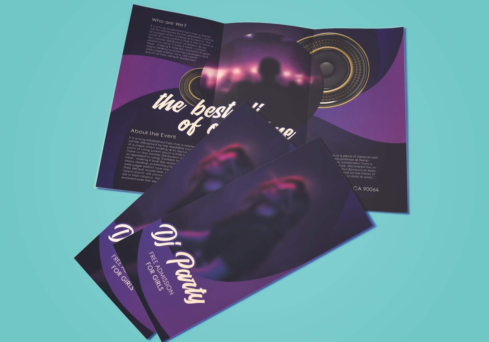 Free Tri-Fold Brochure Template - DJ Party Tri-Fold Brochure