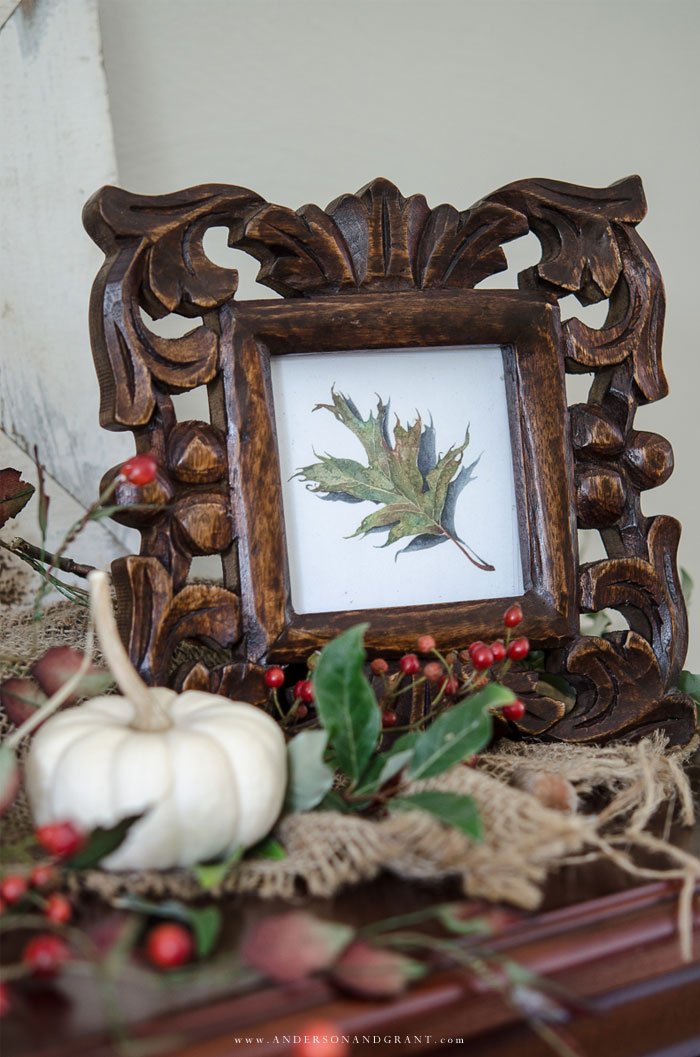 See the special details included to create a beautiful fall mantel.  |  www.andersonandgrant.com