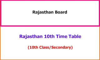 Rajasthan 10th Exam Time Table 2021