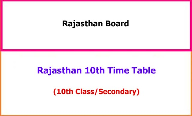 Rajasthan Secondary/10th Class Exam Time Table 2021