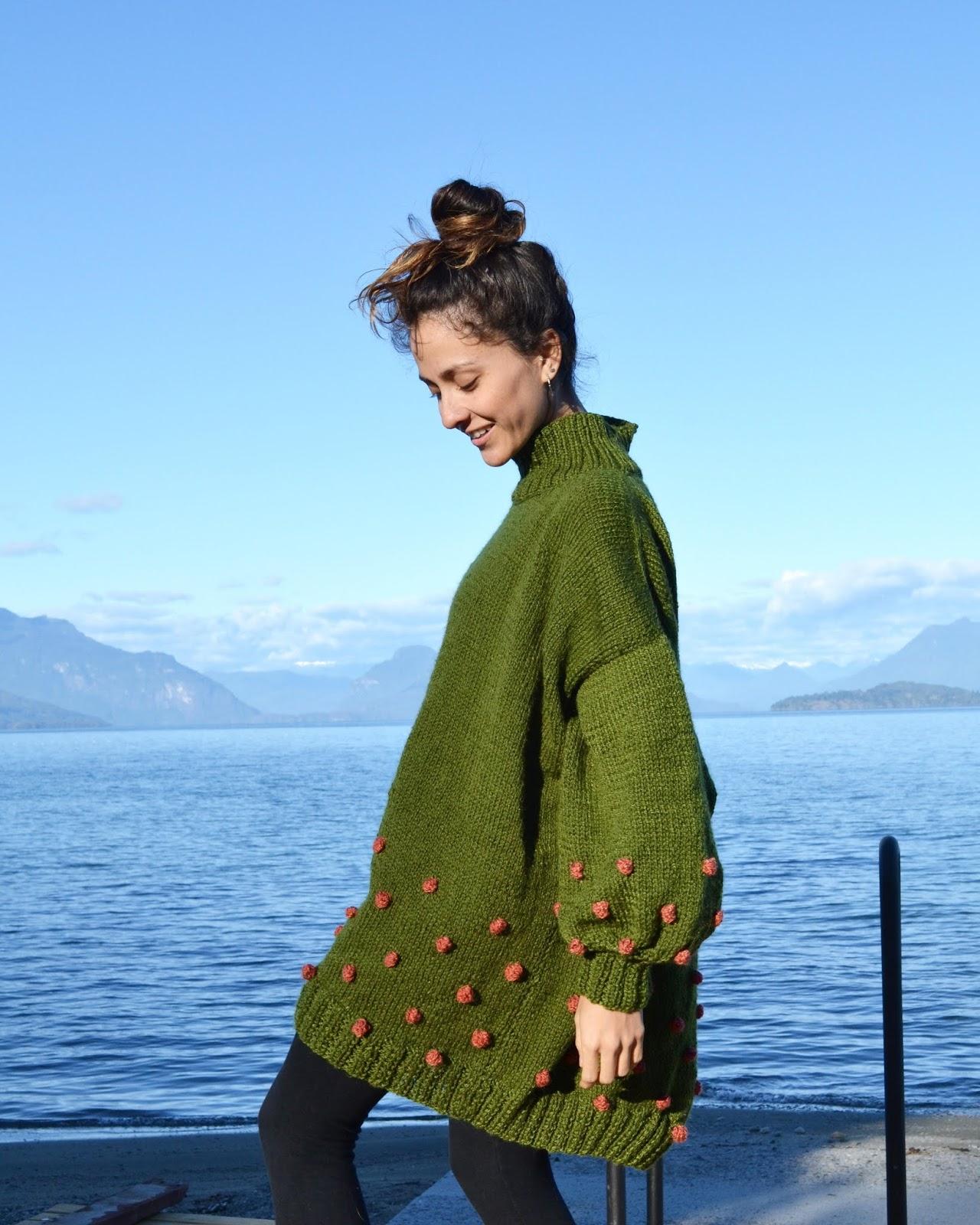 suéter oversize verde de colección Viento Sur