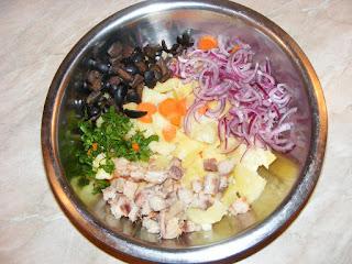 retete cu peste afumat si legume, preparare salata orientala cu peste, retete culinare,