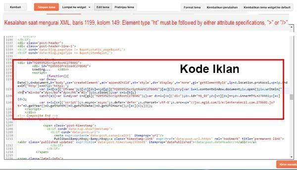 Jіkа kode script iklan MGID tеrѕеbut langsung ditambahkan pada edit html