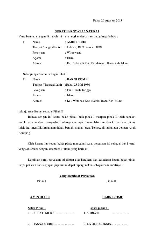 Contoh Format Surat Pernyataan Cerai Lengkap