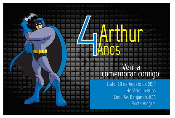 exemplos de convites de aniversario de desenhos do batman