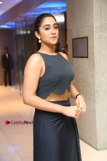 Actress Regina Candra Stills in Beautiful Blue Long Dress at Nagaram Success Meet  0080.JPG