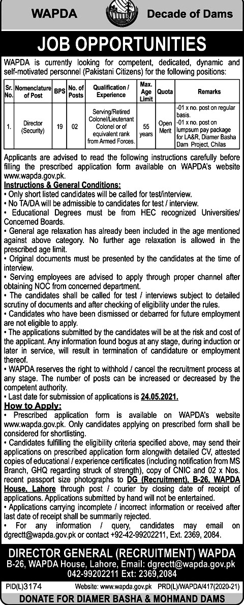 New Jobs in Water and Power Development Authority WAPDA May 2021
