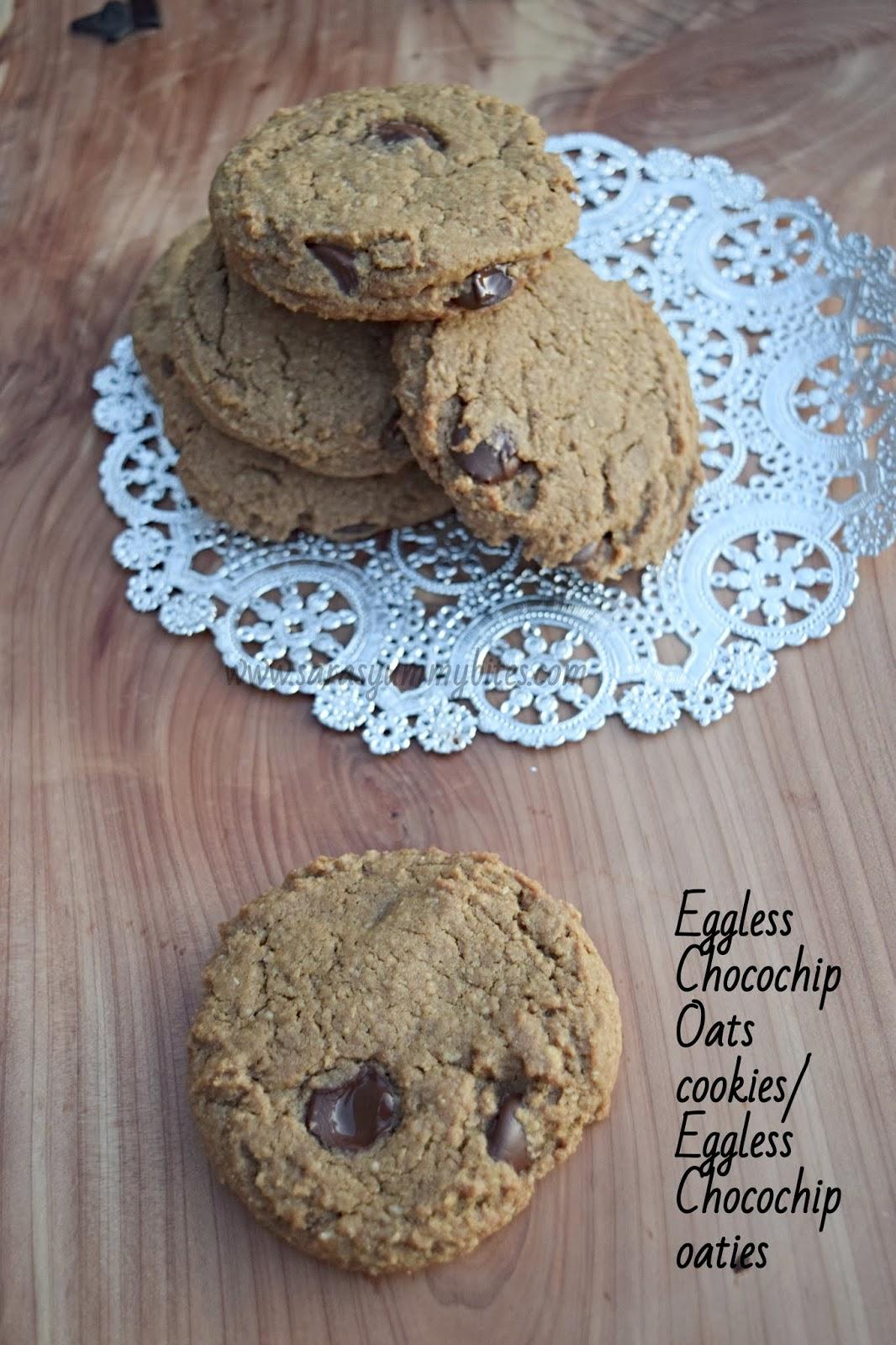 Eggless Chocochip Oats cookies/ Eggless Chocochip oaties