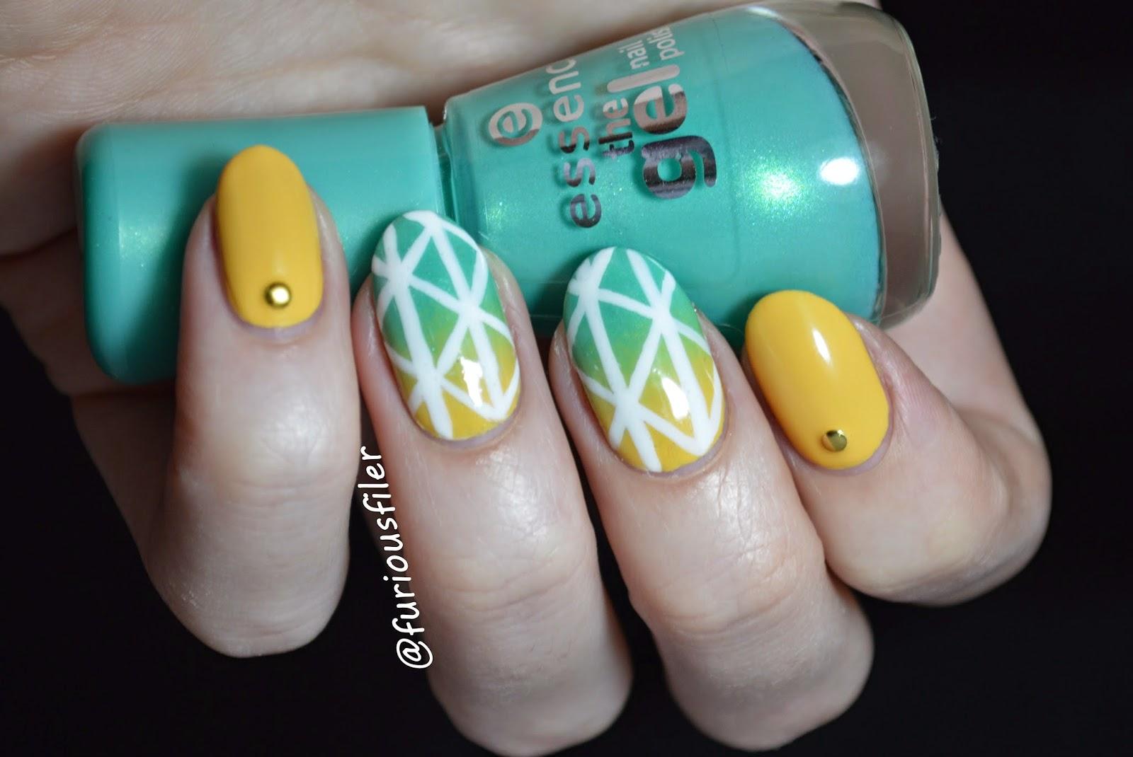 summer nail art colourful studs gradient