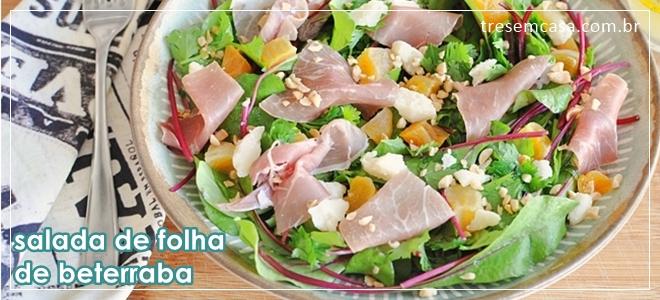salada de folha de beterraba