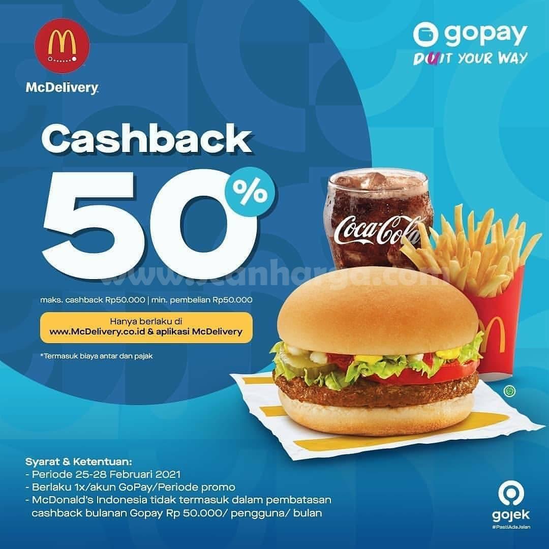 McDonalds Promo Cashback Rp 50.000 dengan GOPAY* [25 - 28 Februari 2021]