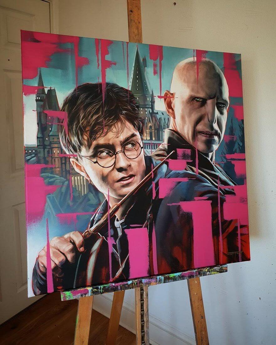 10-Harry-Potter-and-Voldermort-Ben-Jeffery-Superhero-and-Villain-Movie-Paintings-www-designstack-co