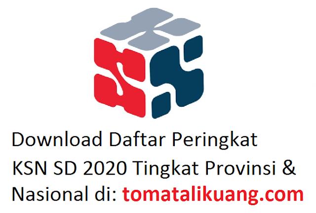 daftar peringkat ksn sd tahun 2020 tingkat provinsi dan nasional pdf tomatalikuang.com