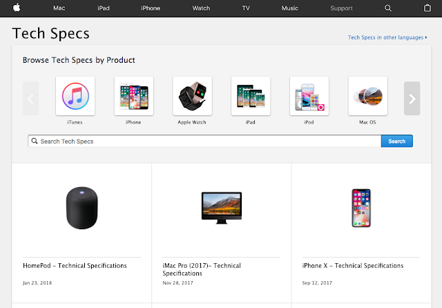 Apple Browse Tech Specs by Product