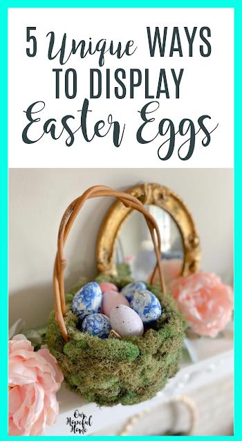mossy Easter basket pastel eggs pink peonies