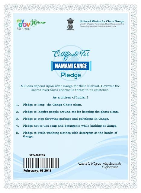 Namami Gange Pledge.